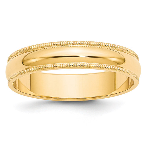 5mm Milgrain Half-Round Wedding Band 14k Gold Engravable M050-10
