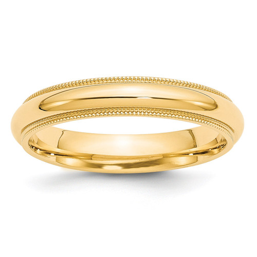 4mm Milgrain Comfort Wedding Band 14k Gold Engravable MC040-10.5