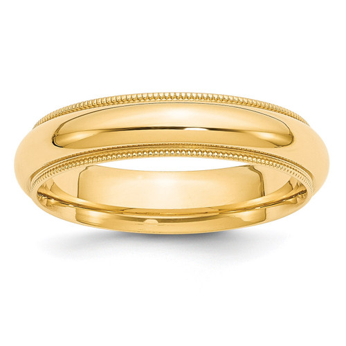 5mm Milgrain Comfort Wedding Band 14k Gold Engravable MC050-4