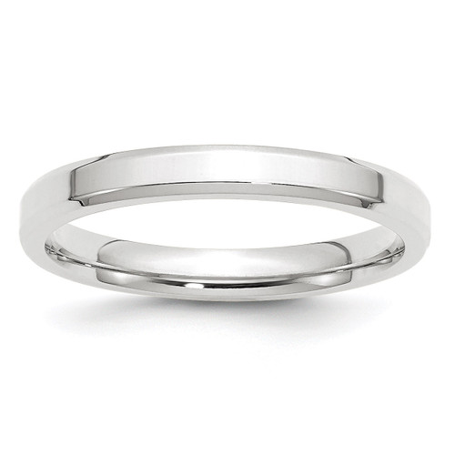 3mm Bevel Edge Comfort Fit Band 14k White Gold Engravable WBEC030-10