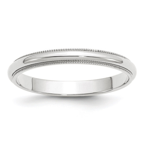 3mm Milgrain Half Round Band 14k White Gold Engravable WM030-12.5