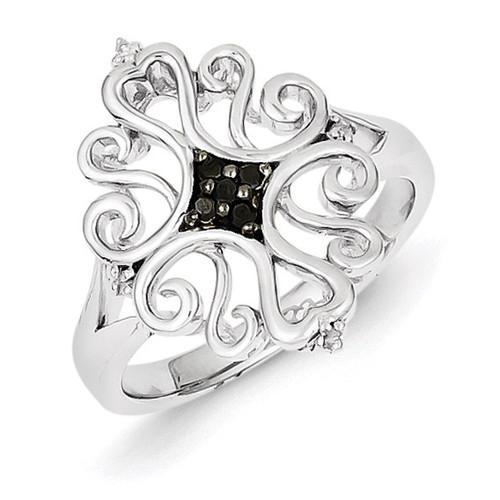 White & Black Diamond Ring Sterling Silver QR5430