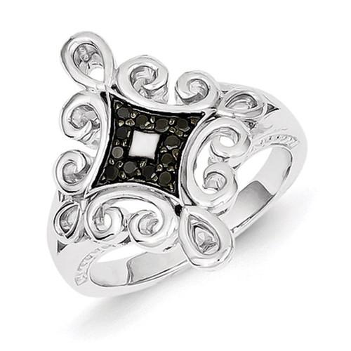 Black Diamond Ring Sterling Silver QR5431
