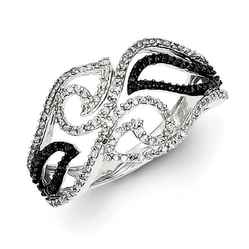 Black and White Diamond Ring Sterling Silver QR5444