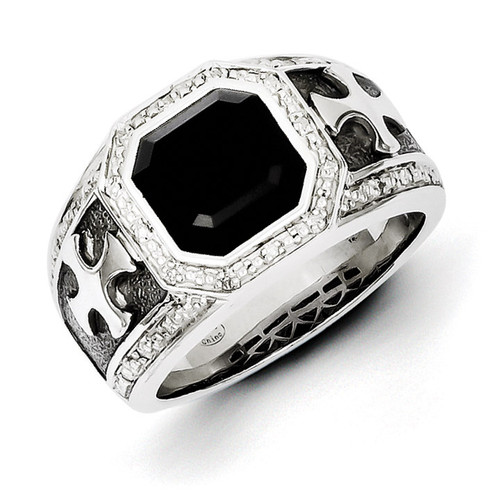 Diamond & Onyx Black Rhodium-plated Cross Men's Ring Sterling Silver QR5551