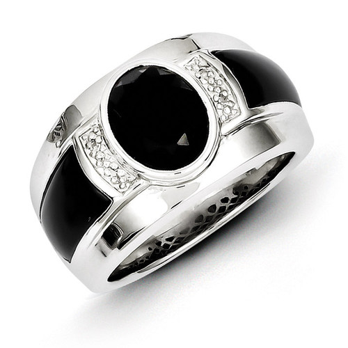 Diamond & Onyx Men's Ring Sterling Silver QR5560