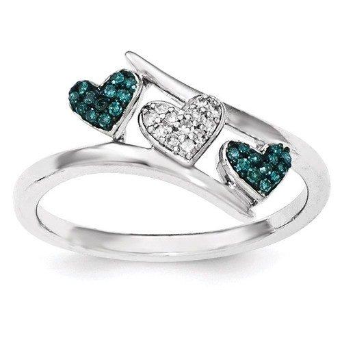 Polished Diamond/Blue Diamond Hearts Ring Sterling Silver QR6511