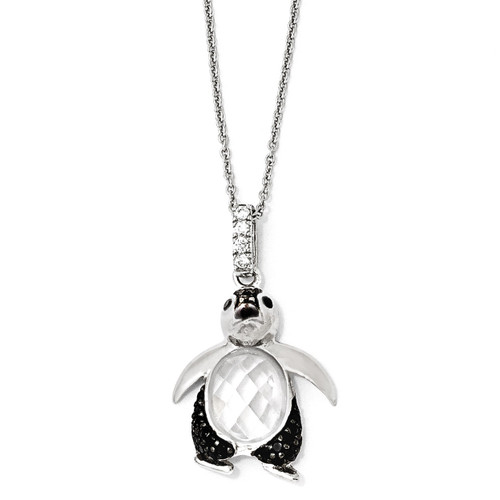 Cheryl M Rhodium Penguin 18 Inch Necklace Sterling Silver Cubic Zirconia QCM867