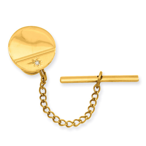 Kelly Waters Gold-plated.01 Ct. Diamond Polished Florentined Tie Tack Gold-plated GP3849