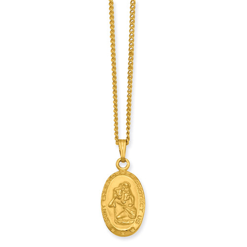 Kelly Waters Small Oval Saint Christopher Medal Necklace 18 Inch Gold-plated KW422-18