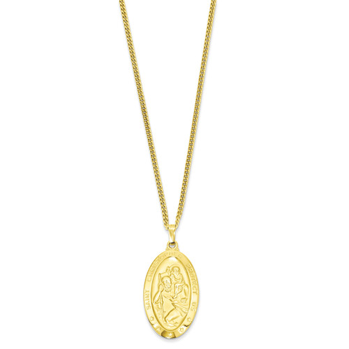 Kelly Waters Large Oval Saint Christopher Medal Necklace 24 Inch Gold-plated KW424-24