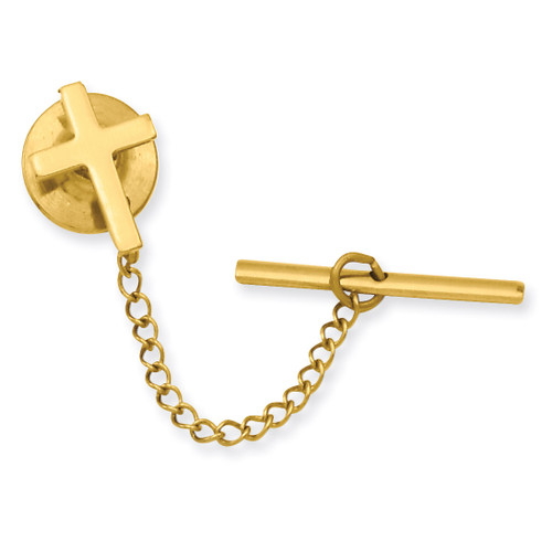 Kelly Waters Small Plain Cross Tie Tack Gold-plated KW565