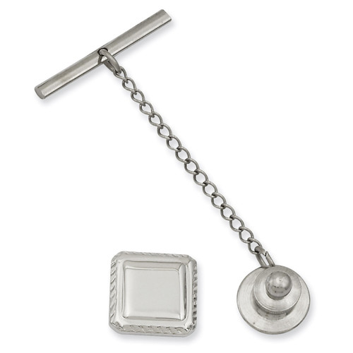 Kelly Waters Square Tie Tack Rhodium-plated KW576