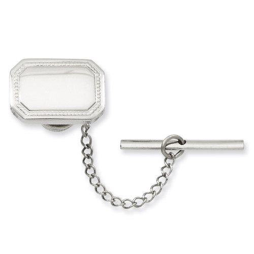Kelly Waters Rectangle Tie Tack Rhodium-plated Polished KW601