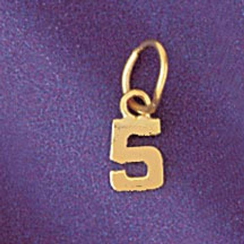 Number 5 Pendant Necklace Charm Bracelet in Gold or Silver 95125