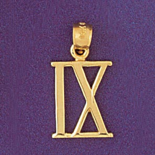Roman Number 9 Pendant Necklace Charm Bracelet in Gold or Silver 95469