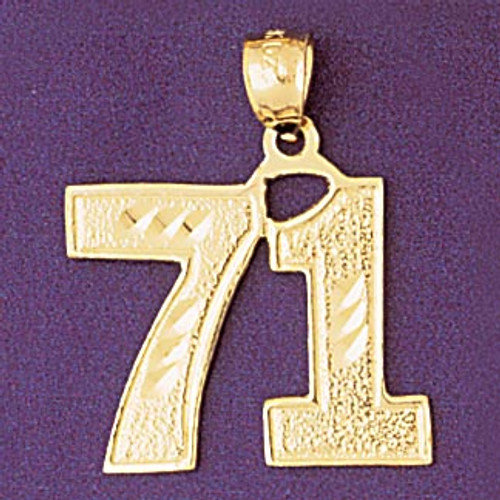 Number 71 Pendant Necklace Charm Bracelet in Gold or Silver 950971