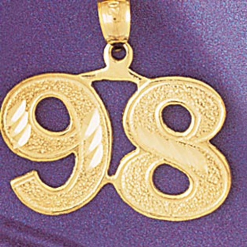 Number 98 Pendant Necklace Charm Bracelet in Gold or Silver 950998