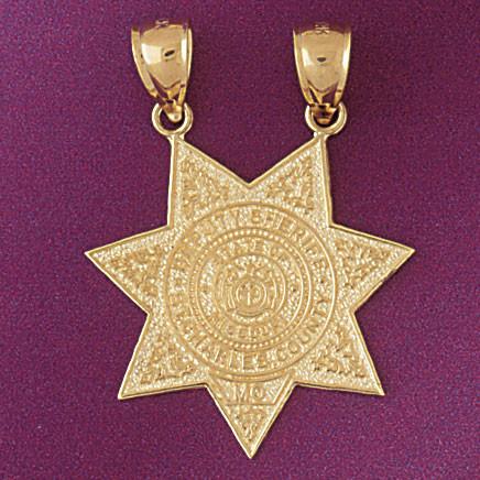 Police badge charm bracelet or pendant necklace in 14k gold or police badge pendant necklace charm bracelet in gold or silver 4549 mozeypictures Choice Image