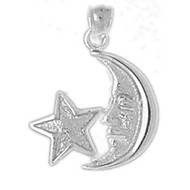Moon And Star Charm or Pendant in .925 Sterling Silver DZST-5628 by Dazzlers