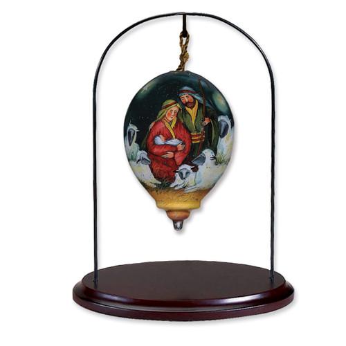 Walnut Finish Petite 5 25in Ornament Hanging Stand Homebello