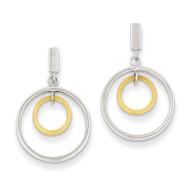 Double Circle Dangle Earrings 14k Two-tone Gold YE471