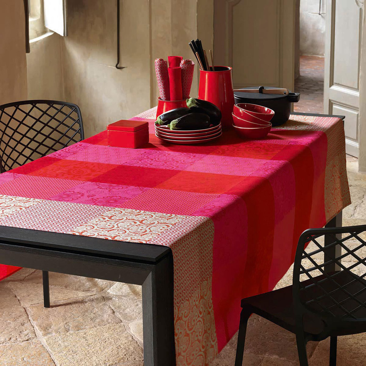 Le Jacquard Francais Tablecloth Kyoto Cherry 175 x 175 Cotton and ...