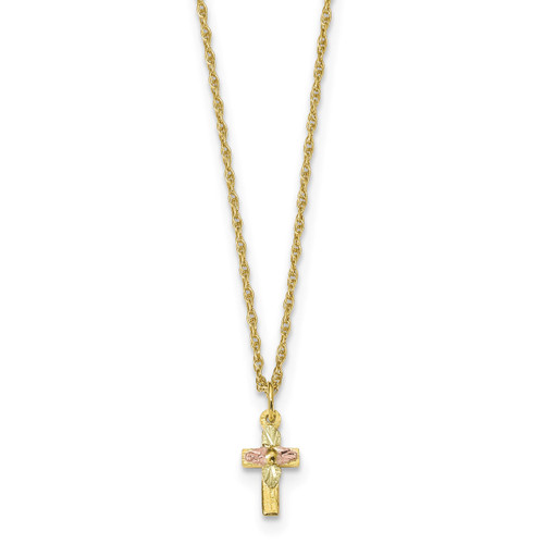 18 Inch Black Hills Gold Cross Necklace 10k Tri Color 10bh703 18 Homebello
