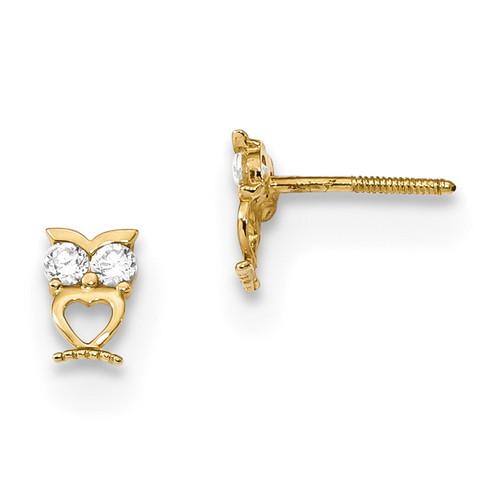 Madi K Owl With Cz Eyes Screwback Post Earrings 14k Gold