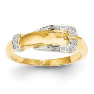 Diamond Buckle Ring 14k Gold Rhodium Y11680AA