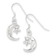 Moon & Star Earrings Sterling Silver QE32
