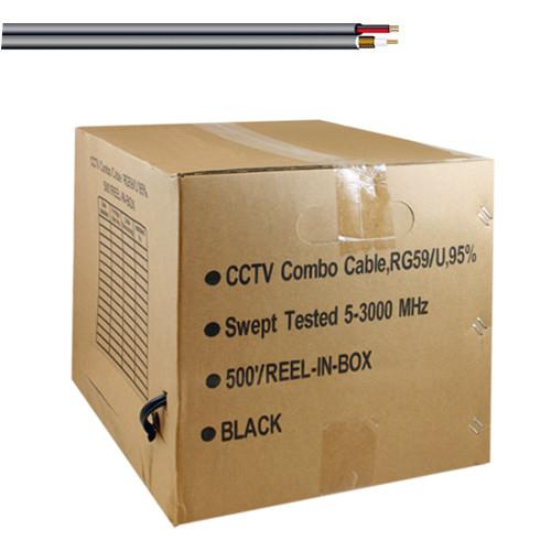 FiveStar Cable RG59 Siamese CCTV Combo Coaxial Cable Black
