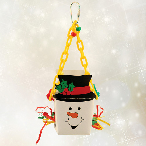 Snowman Foraging Goodie Christmas Box Parrot Toy