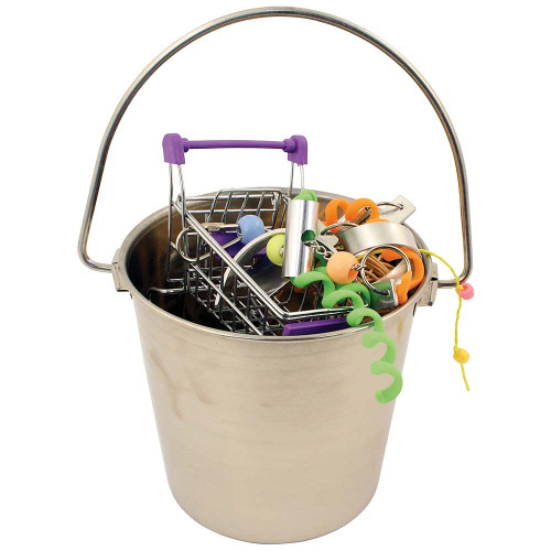 Stainless Steel Foraging Bucket Large Parrot Toy