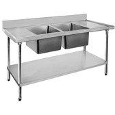 1800-6-DSBC Economic 304 Grade SS Centre Double Sink Bench 1800x600x900 with two 610x400x250 sinks