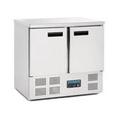 Polar 2 Door Counter Fridge 240Ltr Stainless Steel