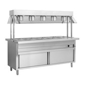 BSL5H Heated Five Pan Servery Bain Marie with Top Lamp Warmers and Storage Cabinet