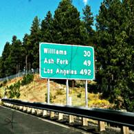 Arizona Road Sign to Williams