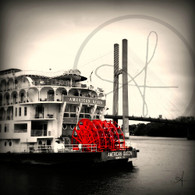 American Queen Paddle Wheel and Bridge BW