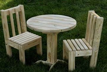 Children's wooden furniture set of table and chairs