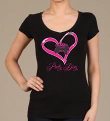 I Heart Trophy Trucks Black V-Neck T Shirt