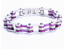 Women's Bike Chain Bracelet Purple and Silver