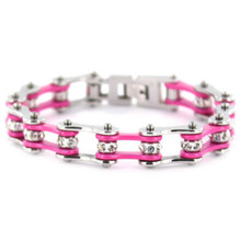 Women's Biker Chain Bracelet Pink and Silver
