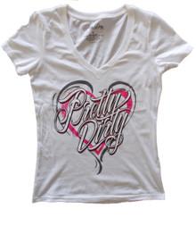 White Pretty Dirty Heart V-Neck