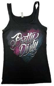 Black Pretty Dirty Track Heart Tank Top