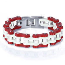 Men's Red and White Bike Chain Bracelet Honda Dirt Bike Style Bracelet