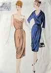 1950s EVENING COCKTAIL PARTY DRESS, JACKET PATTERN SLIM DRAPED SKIRTED  LOW NECKLINE, BACK VOGUE COUTURIER DESIGN 194