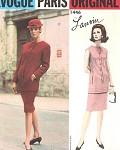 1960s VOGUE PARIS ORIGINAL 1446 PATTERN LANVIN 2 PC SLIM DRESS SEMI FITTED TUNIC TOP, SLIM SKIRT