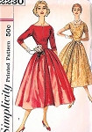 1950s PARTY COCKTAIL EVENING DRESS PATTERN FIGURE MOLDING BODICE, BATEAU NECKLINE SIMPLICITY 2230