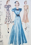 1930s  EVENING GOWN DRESS PATTERN LOVELY DRAPED SHOULDER YOKE, 3 BODICE VERSIONS SIMPLICITY 2757